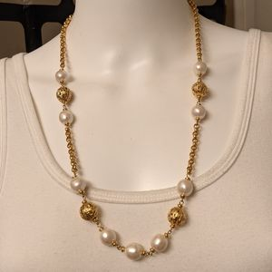 Golden cage beads, pearls goldtone necklace